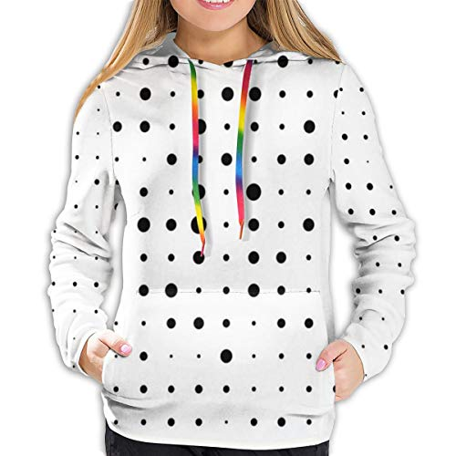 Women's Hoodies Tops,Pop Art Style Illustration with Big and Little Dots Minimalist Half Toned...