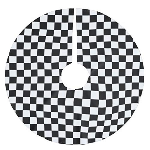 Traasd11an Christmas Tree Skirt, 48 Inches Large Xmas Tree Skirts Black and White Checkerboard...