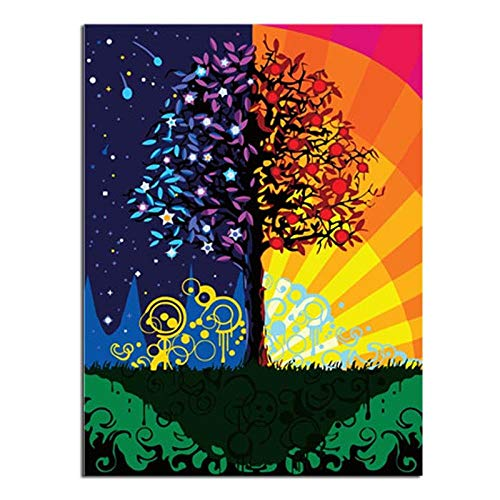 xuxut Fortune Tree Artwork DIY Digital Painting by Numbers Modern Wall Art Canvas Painting Acrylic...