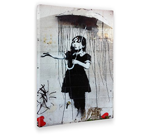 Giallo Bus - Cuadro - Prensa Sobre Tela Canvas - Banksy - Umbrella Girl - 70 X 100 Cm