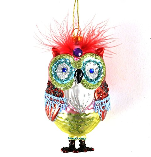 Owl - Painted Glass Hanging Decoration 12cm / 5'
